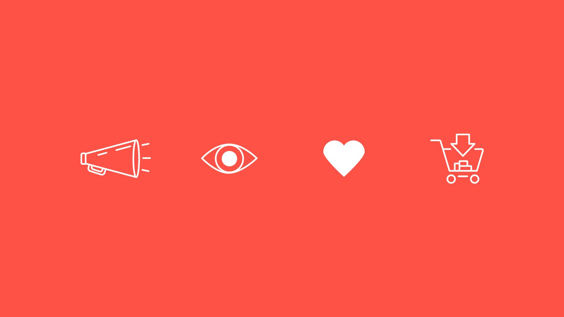 Icons Lautsprecher Auge Herz Einkaufswagen
