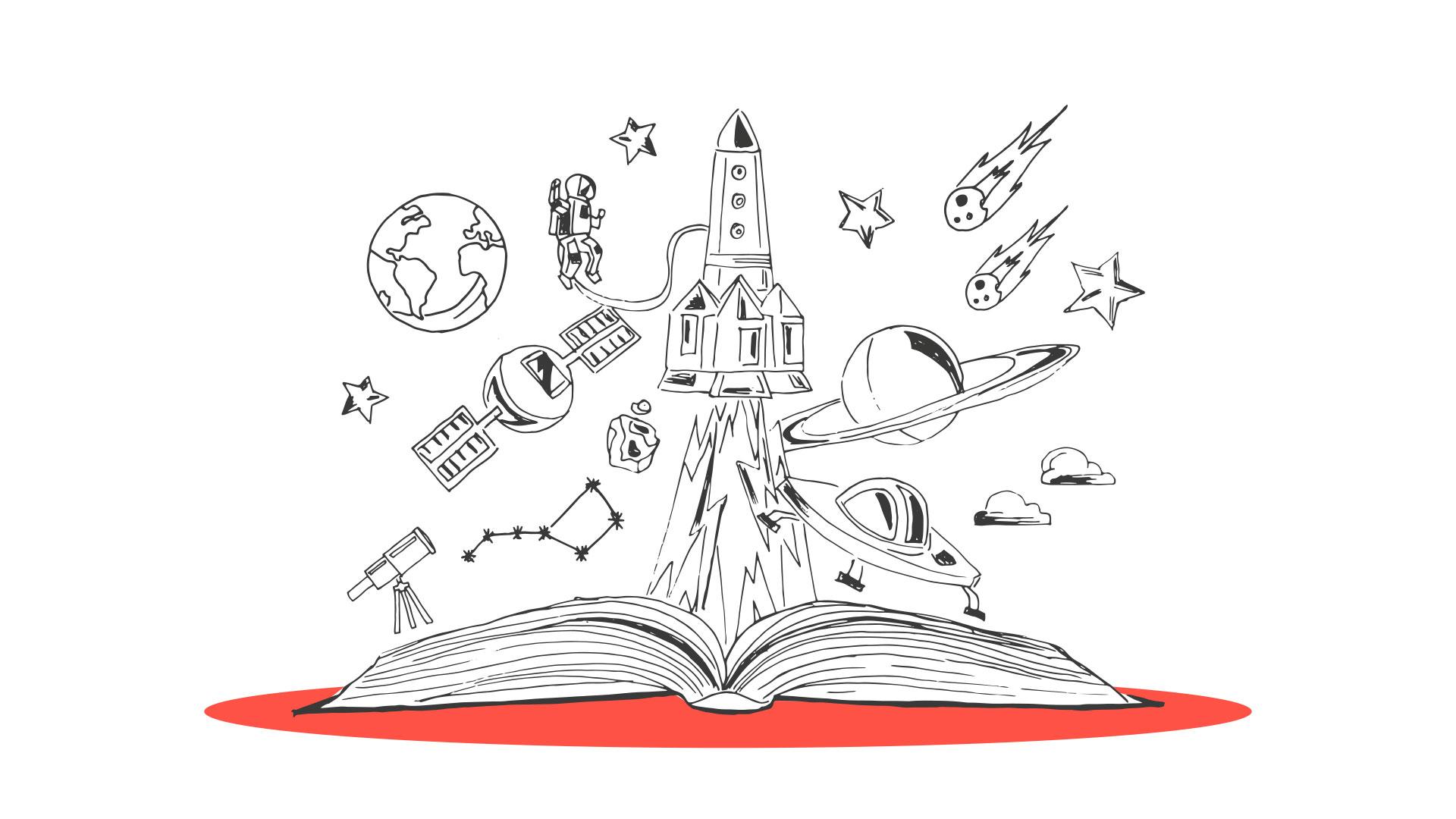 Aus einem Buch fliegen Zeichnungen